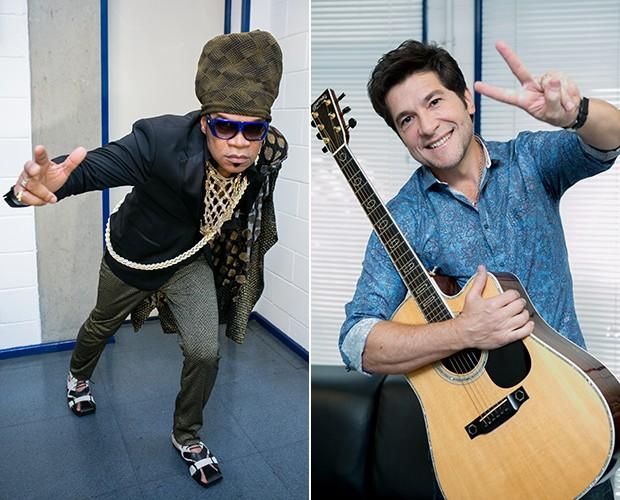 Brown faz sempre bagunça no camarim e Daniel está sempre com o violão (Foto: Isabella Pinheiro/Gshow)