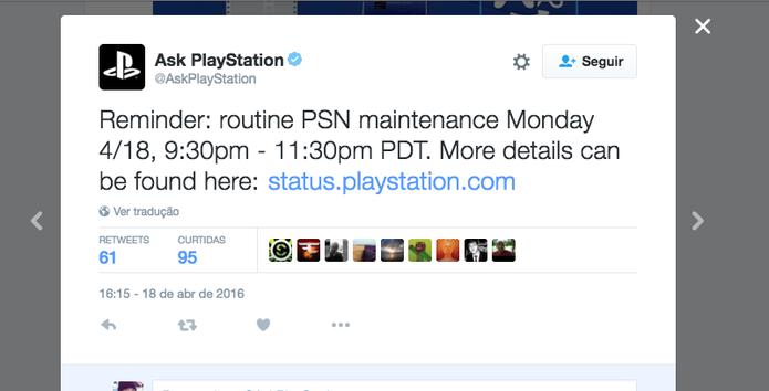 Twitter oficiais da Sony avisam quando a PSN está fora do ar (Foto: Reprodução/Felipe Vinha)