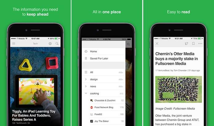 Feedly traz a atualizações de sites e blogs para um só lugar (Foto: Divulgação/App Store)