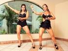Denise Rocha mostra samba no pé ao lado de Raissa Machado