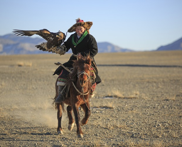 Arte de caçar com águias é milenar (Foto: Domingão do Faustão / TV Globo)