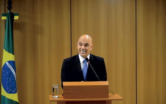 Ministro Alexandre Moraes,na coletiva em que anunciou a operação Hashtag (Foto: ANDRE VIOLATTI/FUTURA PRESS/ESTADÃO CONTEÚDO)