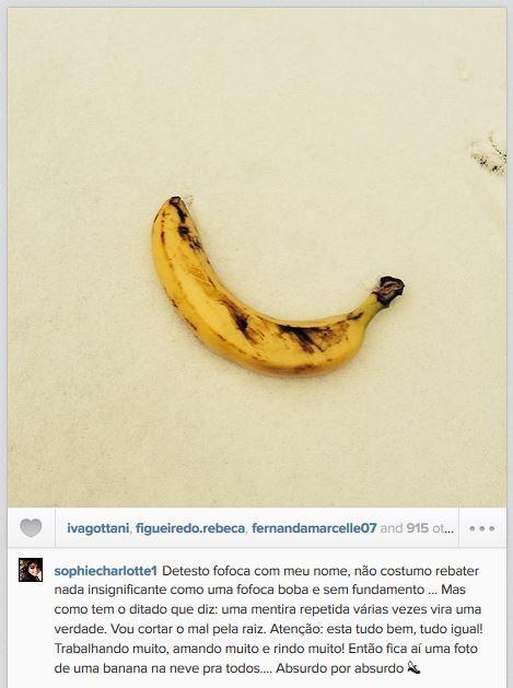 Sophie Charlotte posta foto de banana na neve (Foto: Instagram / Reprodução)