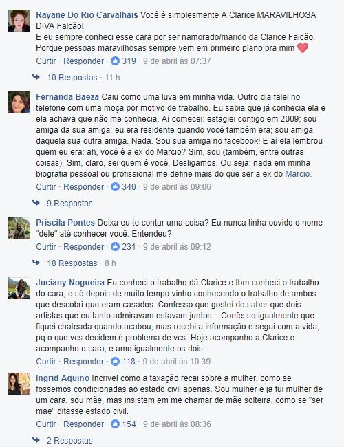 Comentários em post desabafo de Clarice Falcão (Foto: Reprodução/Facebook)