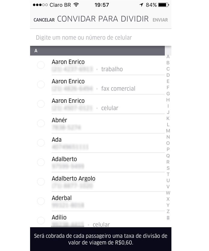 Procure o seu contato na sua lista de telefones (Foto: Reprodução/Thiago Barros)