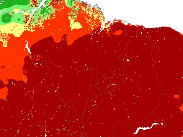 Mapa de focos de incêndio identificados por satélite (Foto: Reprodução/Inpe)