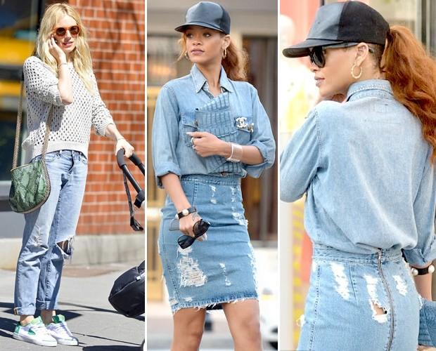 Sienna Miller e Rihanna já aderiram à trend em looks recentes (Foto: Reprodução)