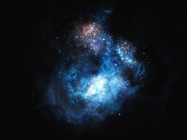 Concepção artística de CR7, a galáxia mais brilhante do Universo primordial: nome foi homenagem a jogador Cristiano Ronaldo (Foto: ESO/M. Kornmesser)