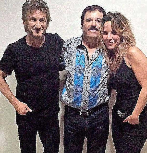 A atriz mexicana Kate del Castillo com o ator Sean Penn e o traficante El Chapo (Foto: Divulgação)