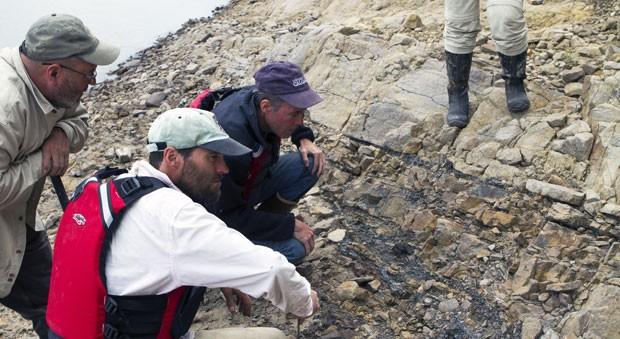 Pesquisadores olham para local onde foram encontrados os fósseis de dinossauro (Foto: Divulgação/Roger Topp)