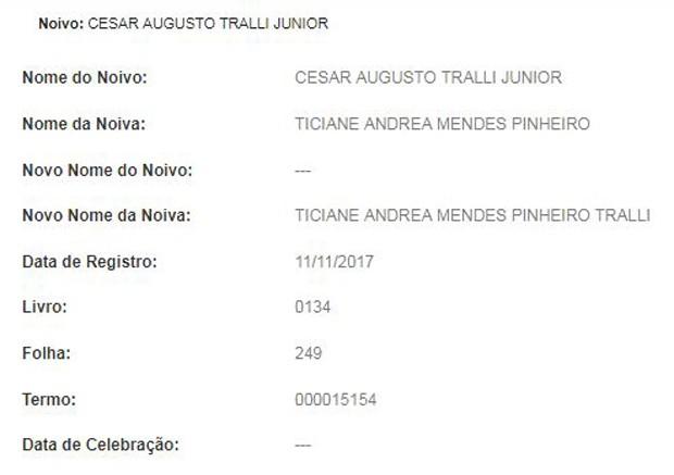 Registro do casamento no civil de Tralli e Tici (Foto: Reprodução)
