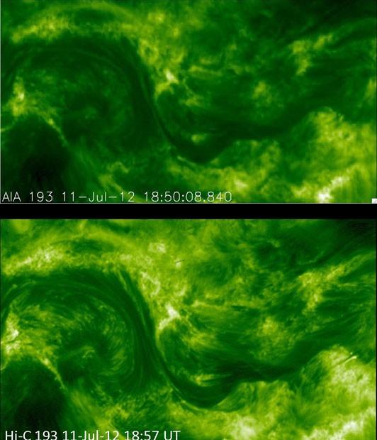 Mostradas em verdes, as imagens detalham o campo magnético do Sol. (Foto: Divulgação/Nasa)
