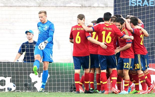 comemoração da Espanha contra a holanda, sub-21 (Foto: Agência AP)