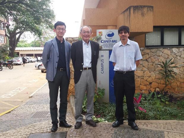 Kenichi Tamura, Katsuya Baji e Daniel Enrique apresentam o projeto (Foto: Michele Marie / G1)