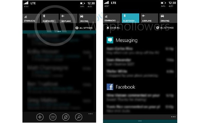 Fotos vazadas mostram como será a área de notificações do Windows Phone 8.1 (Foto: Reprodução/The Verge) (Foto: Fotos vazadas mostram como será a área de notificações do Windows Phone 8.1 (Foto: Reprodução/The Verge))