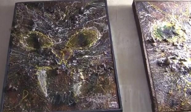 Algumas obras de Siobhan contém materiais como fezes, urina e pelos dos gatos (Foto: Reprodução)