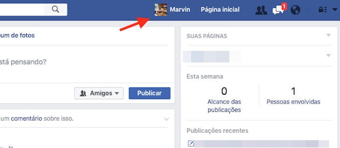 Acessando o perfil de usuário do Facebook (Foto: Reprodução/Marvin Costa) (Foto: Acessando o perfil de usuário do Facebook (Foto: Reprodução/Marvin Costa))
