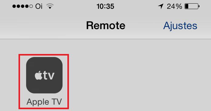 Selecionando a Apple TV no iPhone para controlar remotamente (Foto: Reprodução/Edivaldo Brito)