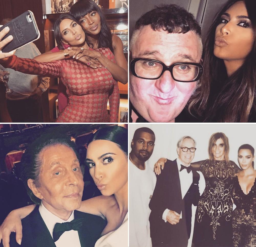Selfie fashion: cliques com nomes da moda levados ao perfil de Kim Kardashin. Em sentido horário: Naomi Campbell, Alber Elbaz, com Kanye West, Tommy Hilfiger e Carine Roitfeld e na companhia de Valentino Garavani (Foto: Reprodução/Instagram)