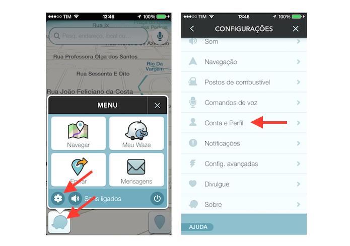 Acessando as configurações de conta e perfil do Waze no iPhone (Foto: Reprodução/Marvin Costa)