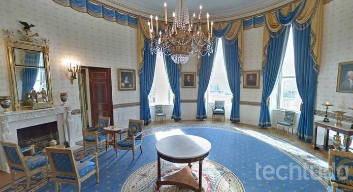 Casa Branca com seus salões abertos no Google Street View (Foto: Reprodução/Barbara Mannara)