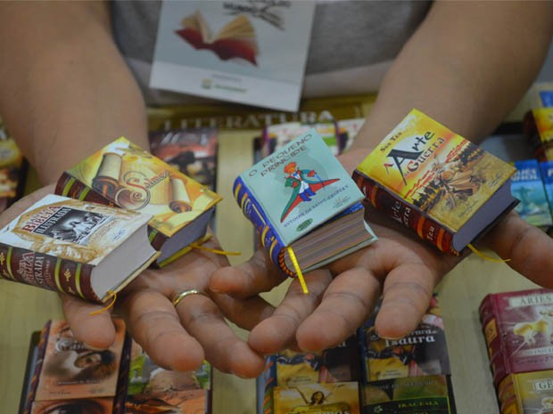 """Clássicos da literatura como """"O Pequeno Príncipe"""" e A Arte da Guerra"""" entram na lista de livros em miniatura. (Foto: Rodolfo Tiengo/ G1)"""