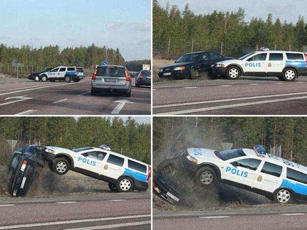 Na Suécia, um policial jogou seu veículo contra o carro de um motorista que tentava fugir. O policial jogou o Audi para fora da estrada, fazendo-o  capotar. (Foto: Reprodução)