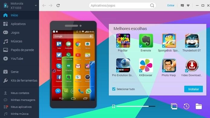 Celular Android conectado ao PC via Mobogenie (Foto: Reprodução/ Raquel Freire)