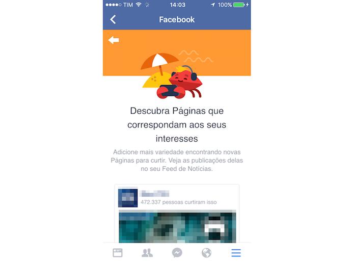 Sessão de sugestão de páginas para curtir do Facebook para iPhone (Foto: Reprodução/Marvin Costa)