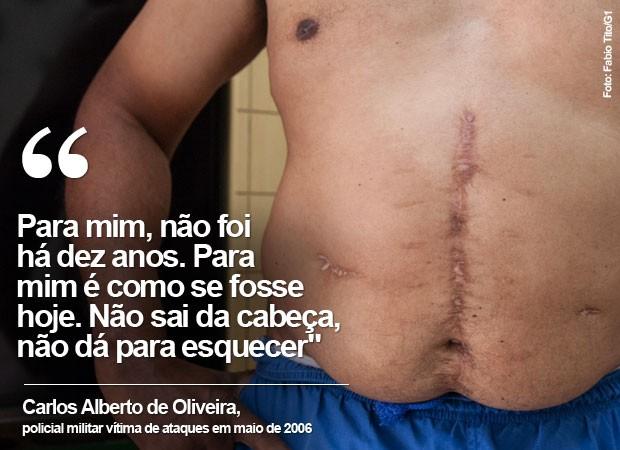 Soldado Oliveira levou 11 tiros nos ataques (Foto: Fabio Tito/G1)
