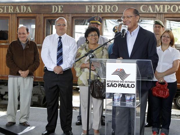 Alckmin, em 2 de novembro passado, anuncia investimento de mais de R$ 4 milhões na Estrada de Ferro de Campos do Jordão (Foto: Divulgação/Governo do Estado de SP)