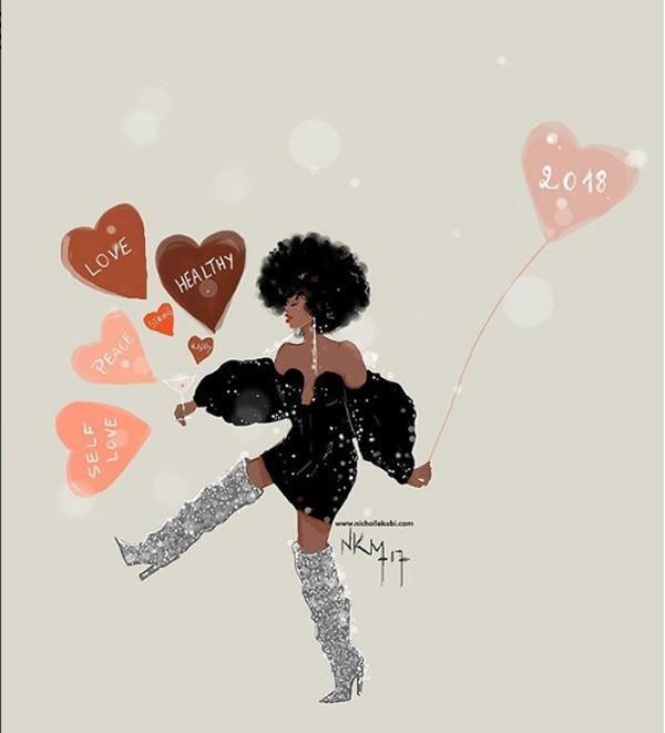 Nicholle Kobi: Ilustradora francesa criou suas próprias resoluções de Ano-Novo (Foto: reprodução Instagram)