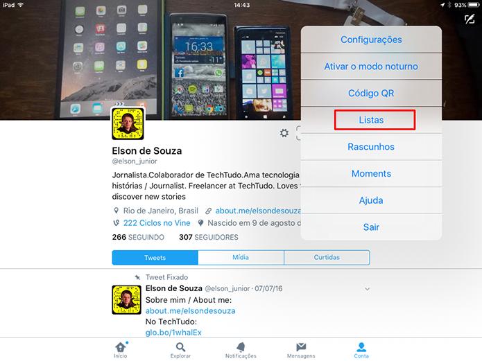 Toque na opção listas para criar um grupo de contas no Twitter para iOS (Foto: Reprodução/Elson de Souza) (Foto: Toque na opção listas para criar um grupo de contas no Twitter para iOS (Foto: Reprodução/Elson de Souza))