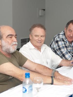 Delfim de Pádua Peixoto, João Nilson Zunino e Wilfredo Brillinger em reunião da Associação de Clubes de futebol de Santa Catarina (Foto: Fernanda Rattay, Divulgação / Associação de Clubes de Futebol de SC)