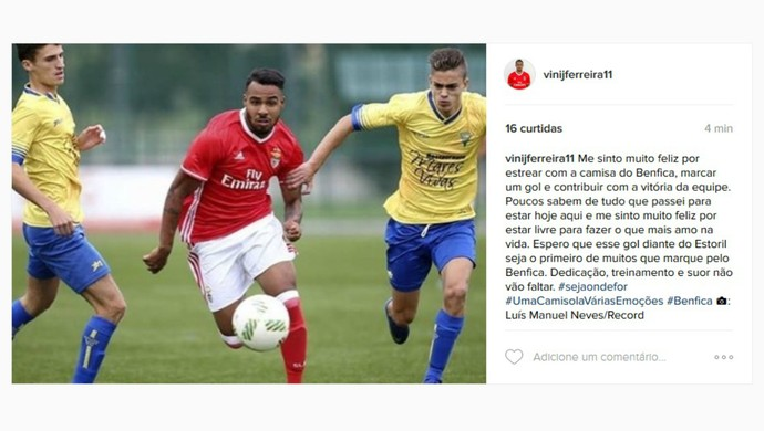 Vinícius Jaú Atlético-PR Coritiba Benfica (Foto: Reprodução/Instagram)