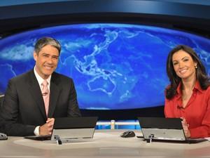 William Bonner e Patrícia Poeta na bancada do 'Jornal Nacional' (Foto: TV Globo/Divulgação/João Cotta)