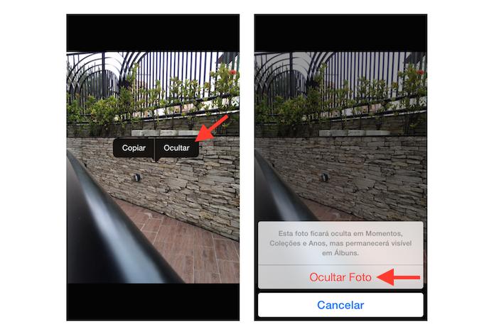 Ocultando uma fotos no iOS (Foto: Reprodução/Marvin Costa)