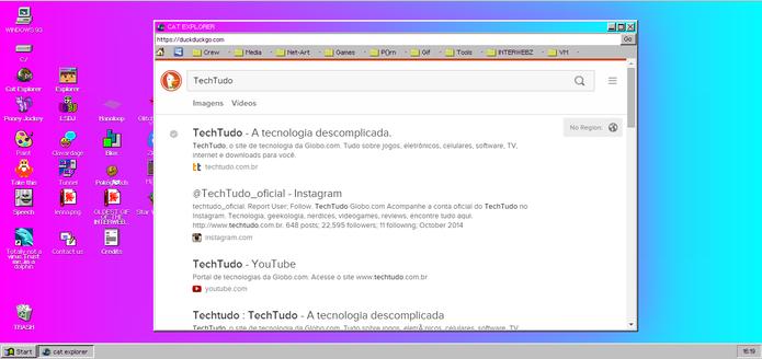Cat Explorer é o navegador do Windows 93 (Foto: Reprodução/Elson de Souza)