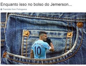"""Jemerson é elogiado por """"colocar"""" Aguero no bolso (Foto: Reprodução / Twitter)"""