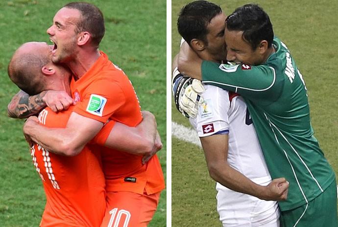 Robben e Sneijder, da Holanda, e Umaña e Navas, da Costa Rica