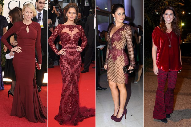 Look Burgundy - Naomi Watts, Cheryl Cole, Fernanda Vasconcellos e Fernanda Paes Leme (Foto: Getty Images || Getty Images || Iwi Onodera / EGO || Foto Rio News)