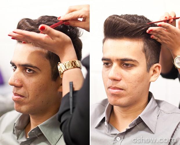 luan preparando cabelo 2 (Foto: Dafne Bastos/ TV Globo)