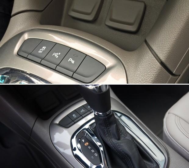 Diferença no vão do console central do Cruze hatch (acima) e do sedã (abaixo) (Foto: André Paixão e Peter Fussy / G1)
