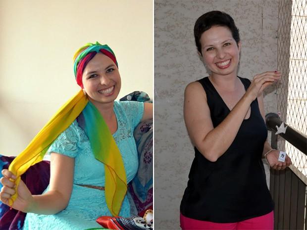 À esquerda, Lívia Hernandes durante tratamento contra o câncer; à direita, farmacêutica já curada da doença (Foto: Fernanda Testa/G1)