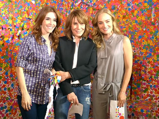 Angélica grava Estrelas com Renata Sorrah e Deborah Evelyn (Foto: Estrelas/TV Globo)