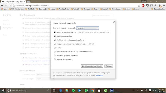 Excluir cookies e dados no navegador pode eliminar ameaças a e-mail (Foto: Reprodução/Elson de Souza)