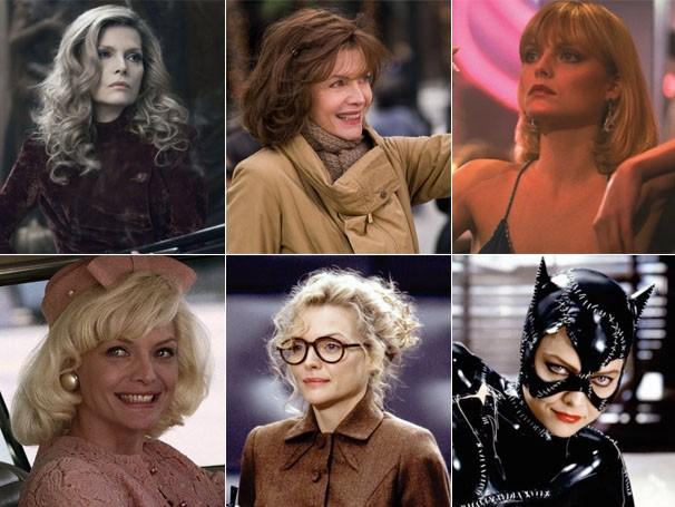 Michelle Pfeiffer em: 'Sombras da Noite', 'Noite de Ano Novo', 'Scarface', 'As Barreiras do Amor' e 'Batman - O Retorno' (Foto: Divulgação)
