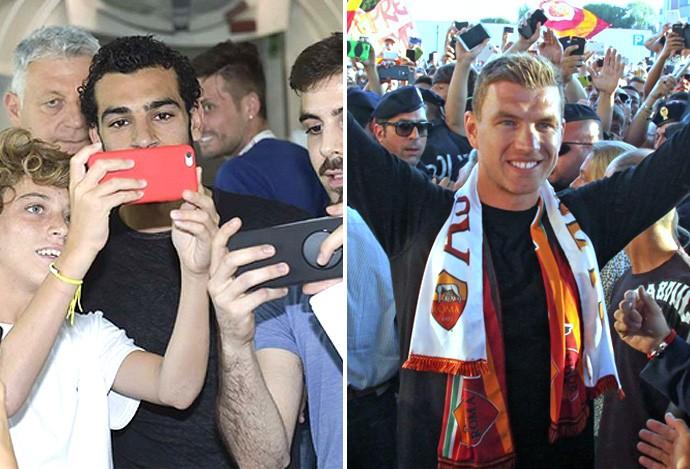 Montagem Salah e Dzeko (Foto: Globoesporte.com)