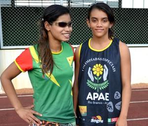 A paratleta Luana e sua guia Débora (Foto: Quésia Melo)