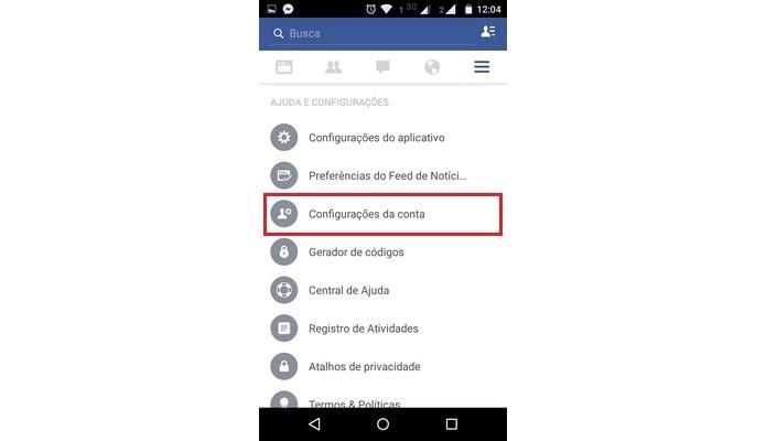 Opção Configurações da conta do Facebook (Foto: Reprodução/Raquel Freire)